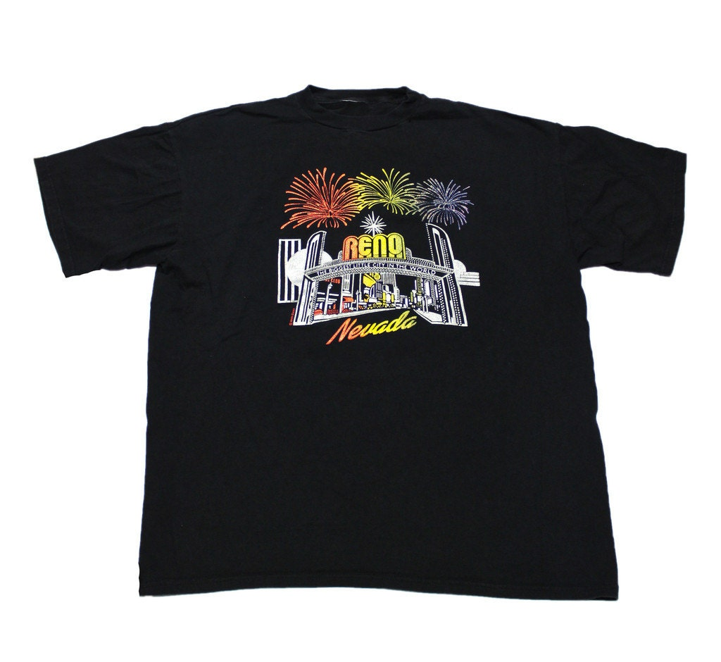 vintage 80s reno puff print shirt mens size xl