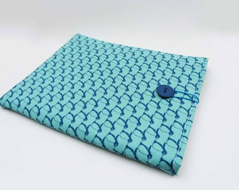 Turquoise and blue penguin fabric iPad sleeve