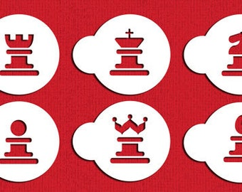 Chess Cookies Stencil Set for Cookies, Cakes & Cupcakes - Designer Stencils (C486) King Queen Rook Pawn Knight face painting