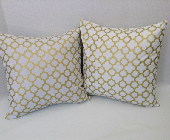White Gold Throw Pillow : Metallic Gold White Gold Quatrefoil Pillow Covers by AggieRay