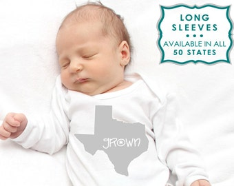 GROWN in {your state} long-sleeve one piece NEWBORN baby INFANT