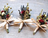 Fall Winter  or Holiday Wedding  Boutonniere or Corsage of Gilded Gold Wheat, Dried  Lavender, Rosebud, Celosia, Flax and Dried Flowers