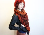The Fringe Cowl neck scarf hood shawl vegan fire cranberry pumpkin cedar brown