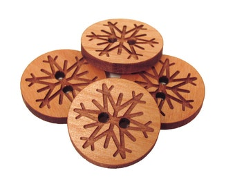 Snowflake Wooden Buttons - Engraved Laser Cut Wood Buttons