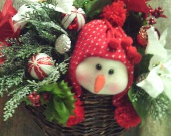 Snowman Arrangement /  Front Door Wreath / Snowman Basket / Front Door Basket