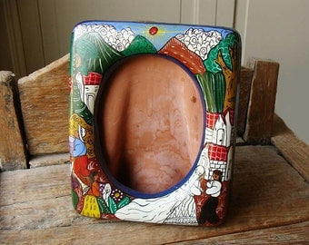 Vintage Mexican Talavera Wedding Clay Pottery Frame