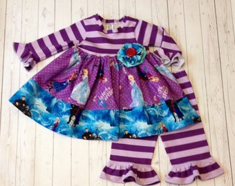 3 PC Frozen dress and ruffle pants