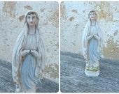 Vintage Antique porcelaine Bisque religious statue Holy Virgin