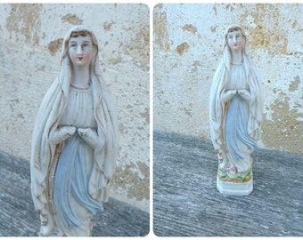 Vintage Antique porcelaine Bisque religious statue Holy Virgin