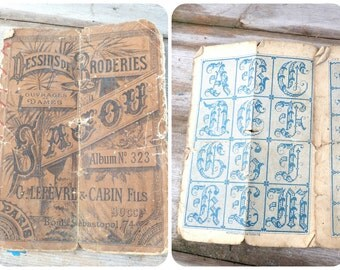 Vintage Antique 1900 French timeworn SAJOU album cross stiched samples