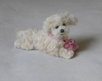 Personalized Felted Miniature of your pet / Custom Sculpture from  your photos / poseable / example Bichon Frise