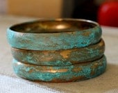 Verdigris Chunky Patina Brass Bangle, listing is for one bangle