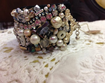 French glam hand stitched beaded cuff bracelet FREE SHIPPING