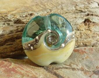 Harmony lentil pendant ... handmade glass bead and silver .. UK SRA