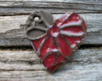 Handmade Ceramic Cranberry Chocolate Textured Heart Pendant