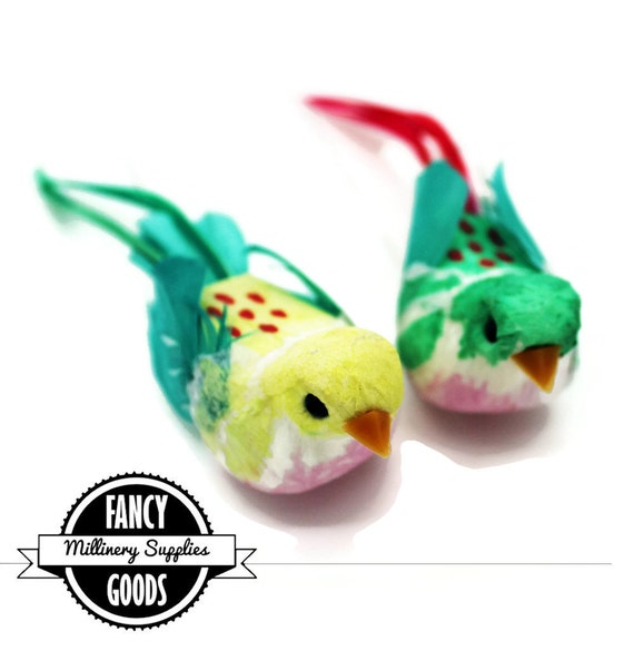 2 tropical colored craft birds artificial birds fake for Synthetic feathers for crafts