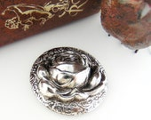 FLOWER - 2 Large Raised Rose Silver Ox Brass Stampings - Jewelry Findings -  Ornament (FB-6015) #