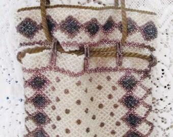 Antique, Victorian 1800's Czech Beaded Hand Bag, Hawaiian Design, Ships Worldwide