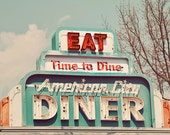 Travel Photography, Diner Photograph, Vintage Sign, Restaurant, Kitchen Decor, Mint, Green, Colorful, Vintage Tones, Retro, Eat, Print