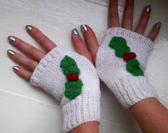 Hand warmers, Christmas, holly, fingerless gloves, wool free, vegan, white, sparkly CIJ by Spinningstreak