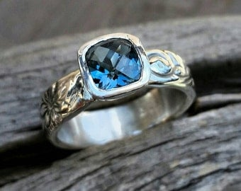 Blue Topaz Sterling Silver Floral Ring Band - Engagement Or Wedding Ring