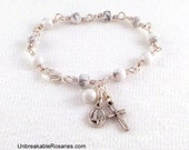 Virgin of Fatima Sacred Heart of Jesus Rosary Bracelet In White Magnesite by Unbreakable Rosaries