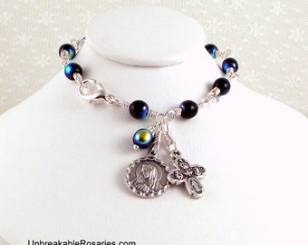 Virgin of Sorrows Rosary Bracelet in Black AB Czech Glass with 4-Way Cross by Unbreakable Rosaries
