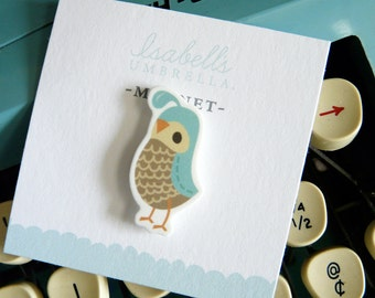 Illustrated Quail Handmade Magnet