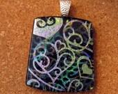 Dichroic Heart Pendant - Fused Glass Pendant - Valentine Pendant - Valentine Jewelry - Dichroic Jewelry