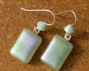 Dichroic Earrings - Mint Green Earrings - Fused Glass Earrings - Dichroic Jewelry - Swarovski Crystals