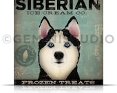 Siberian Husky dog Ice Cream Company illustration gallery wrap on gallery wrapped canvas stephen fowler