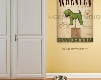 Wheaten Terrier Dog Topiary garden illustration graphic art on gallery wrapped canvas by stephen fowler Choose your Breed