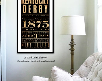 Kentucky Derby typography illustration graphic artwork signed giclee archival print by stephen fowler