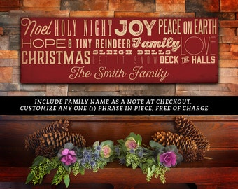 Family name Christmas Holiday typography signage graphic artwork on gallery wrapped canvas by Stephen Fowler