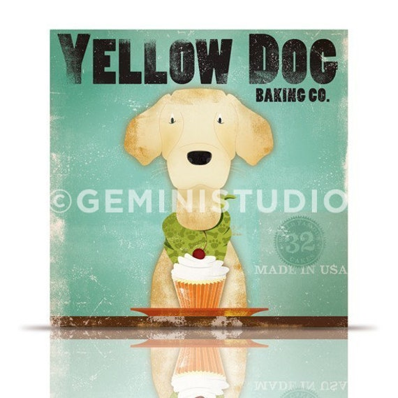 Yellow Dog Larador Cupcake company graphic illustration on gallery wrapped canvas by stephen fowler