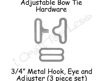 """25 Sets Bow Tie Hardware Fastener Clips - Rounded Edge Slide Adjuster*, Hook and Eye - 3/4"""" Silver Metal - SEE COUPON"""