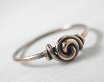Promise Ring Antiqued Copper Love Knot Ring Stackable Wire Wrapped Forget-Me-Knot Sweetheart Valentine's Ring