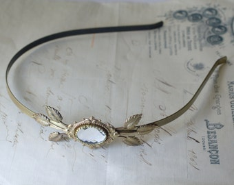 Brass bridal leaf headband crystal jewel victorian vintage style leaves romantic bronze gem rhinestone wedding hair accessory