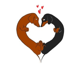 Dachshund heart love - Dachshund dog art print