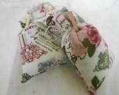 Linen Retro Butterfly & Roses Print Lavender Sachets - set of 3 - Handmade