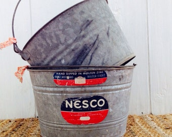 Bucket List...Antique Vintage Nesco Industrial Galvanized Metal Tub Bucket Basket