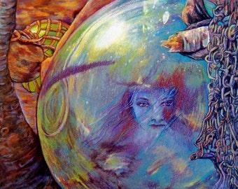 Imprisoned mermaid in Japanese glass float original drawing