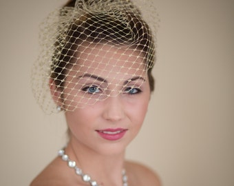 Gold Metallic Small Birdcage Blusher Wedding Veil  Ready to Ship in Gold