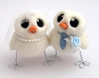 Love Birds Wedding Cake Topper Peach and Periwinkle Bride and Groom Needle Felted Birds