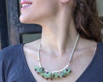 Prehnite Necklace, Silver Prehnite necklace, Sterling Prehnite, Prehnite Beads, Jasper Beads, Silver Stone Necklace, Green Stone Necklace