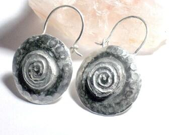 Swirl Earrings, Swirl Hoops, Solid Sterling Hoops, Spiral Design, Round Hoops, Boho Hoop Earrings, Artisan Hoops, Unique Design Earrings