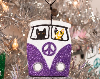 Purple Christmas Bus Clay Cat Folk Art Ornament