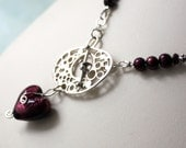 Garnet Lamp Work Heart Statement Necklace with Freshwater Pearls and Artisan Silver Toggle Clasp