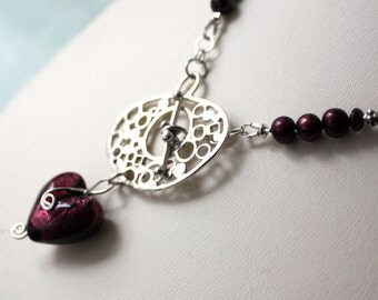 Garnet Lamp Work Heart Statement Necklace, Freshwater Pearl Heart Necklace, Burgundy Heart Artisan Clasp and Pearl Necklace