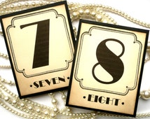 Wedding Table Numbers - Great Gatsby Themed Wedding Art Deco Black and Cream - All Handmade in the UK - Set of 10